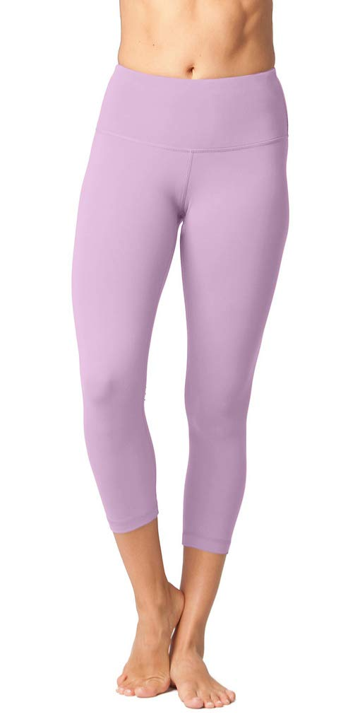 Yogalicious High Waist Ultra Soft Lightweight Capris - High Rise Yoga Pants - Shadow Petal - Small by Yogalicious