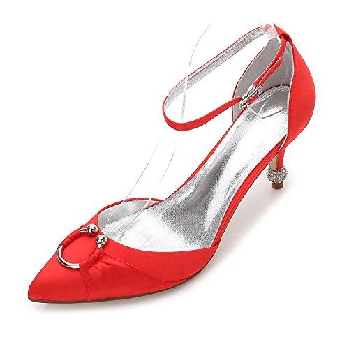L@YC Womens Wedding 17767-25 Komfort Sommer Herbst Satin Hochzeitskleid Party & Abend Stiletto High Heel Blau Red