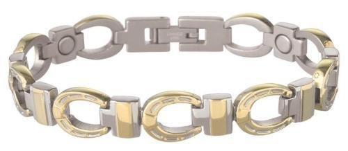 (Sabona 22675 Gold Horseshoe Duet Magnetic Bracelet, Large)