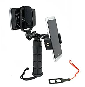 Action Mount - Dual Device Hand Grip Setup for Video Recording with 2 Phones, 2 GoPros, or Point-and-Shoot Camera. Any Device, Multiple Orientations. (2 Device Hand Grip)