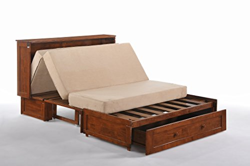 Night & Day Furniture Murphy Cabinet Bed with Mattress, Cherry, Queen