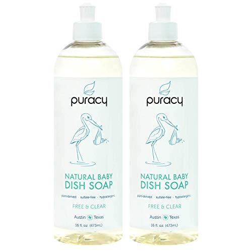 Puracy Natural Baby Dish Soap, Free & Clear, Sulfate-Free Liquid Bottle Detergent, 16 Ounce (2-Pack)