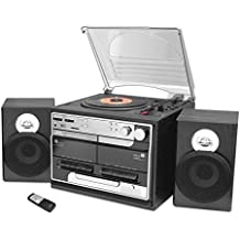 Updated Classic Style Record Player - Bluetooth Turntable with Vinyl to MP3 Recording, Dual Cassette Deck & CD Player, Convert Vinyl to MP3, 3 Speeds: 33, 45, 78 RPM, Wireless Remote - Pyle PTTCSM70BT