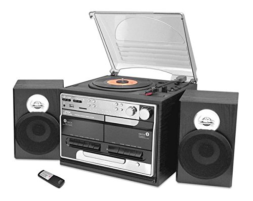 PYLE PTTCSM70BT Bluetooth Classic Style Record Player Turntable with Vinyl to MP3 Recording, Dual Cassette Deck & CD Player