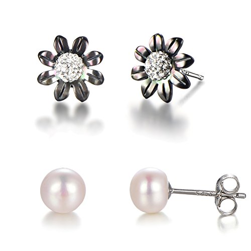 Flowers Shell Earrings (925 Sterling Silver Post Freshwater Cultured Pearl AAA Studs Earrings with Mother of Pearl Shell Flower (Sunflower black pearl flowe-8 petals))