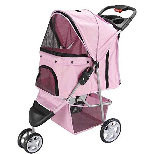 Yangs Easy Folding Pet Trolley,Teddy Trolley Cage Three-Wheel of Travel Products (Color : A)
