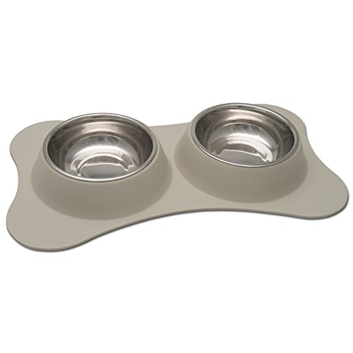 Loving Pets Bone Shaped Flex Diner for Dogs, Small, Biscuit
