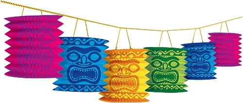 Hawaiian Summer Luau Beach Party Tiki Island Lantern Garland Decoration, Paper, 12 Feet