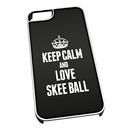 Bianco cover per iPhone 5/5S 1892 nero Keep Calm and Love Skee Ball
