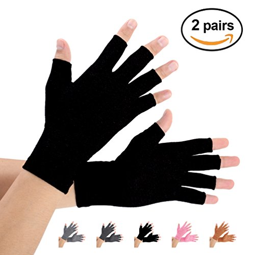 Brace Master 2 Pairs Women Compression Gloves Arthritis Gloves Fingerless Hand Brace Support Warmth for Finger Joint, Relieve Pain from RSI, Carpal Tunnel and Tendonitis (Pure Black, Medium)