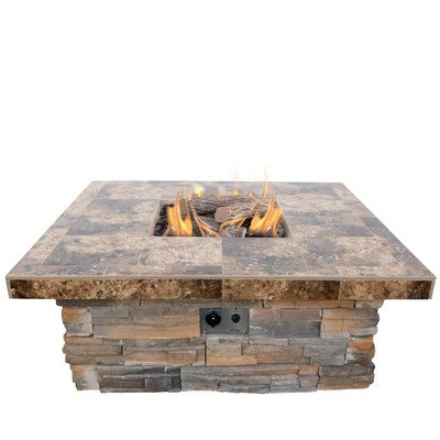 Superieur Natural Stone Propane Gas Fire Pit Finish: Gray