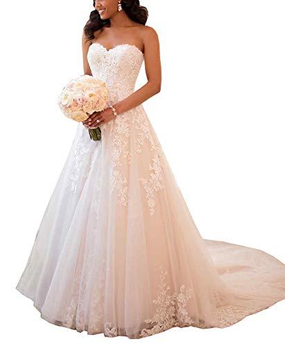 Nicefashion Women's Sweetheart Beaded Lace A Line Princess Wedding Dresses Chapel Train Bridal Gown Plus Size White US16W ()