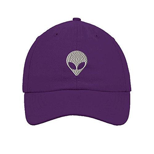Alien Hat (Silver Alien Face Embroidery Twill Cotton 6 Panel Low Profile Hat Purple)