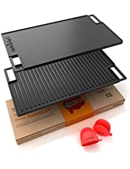 NutriChef NCCIRG59 Cast Iron Reversible Grill Plate - 18 Inch Flat Cast Iron Skillet Griddle Pan For Stove Top, Gas Range Grilling Pan w/ Silicone Oven Mitt For Electric Stovetop, Ceramic, Induction.