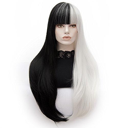 Bopocoko Wigs for Women Long Hair 2 Tones Black and White Wig with Bangs Straight Costume Wigs for Halloween Cosplay Party with Wig Cap 32 inch (Black and White) (Halloween Black And White Makeup)