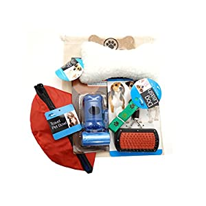 SanAndCo Dog and Puppy Travel Essentials Gift Box with Reusable Drawstring Carry Storage Pouch