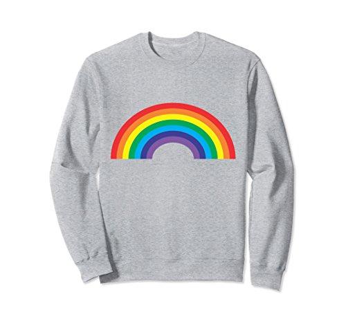 Unisex Retro Rainbow Sweatshirt 70's 80's Vibe Old School Style Small Heather Grey (Sweatshirt Adult Rainbow)