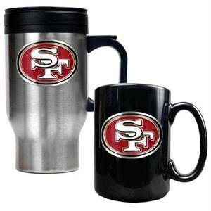 - NFL San Francisco 49ers Travel Mug & Ceramic Mug Set - Primary Logo