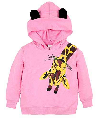 Giraffe Print Fashion - ATTRACO Kids Girls Hooded Sweatshirt Pullover Giraffe Print Cotton Hoodies Pink 7T