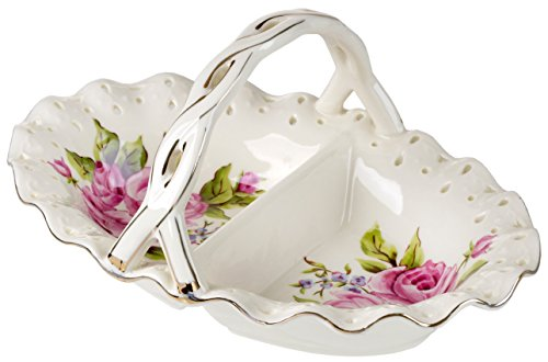 - 5th Avenue Collection Porcelain Candy Dish 2 Section Oval, Floral Rose Ivory
