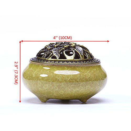 UOON Cone Incense Burner Holder with Ash Catcher (Stick/ Cone/ Coil Incense)