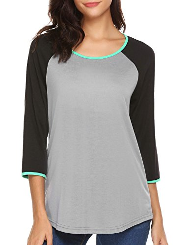 3/4 Sleeve Raglan Baseball - Tobecy Women's Casual Tri-Blend 3/4 Sleeve Raglan Baseball T-Shirt Tops Black XL