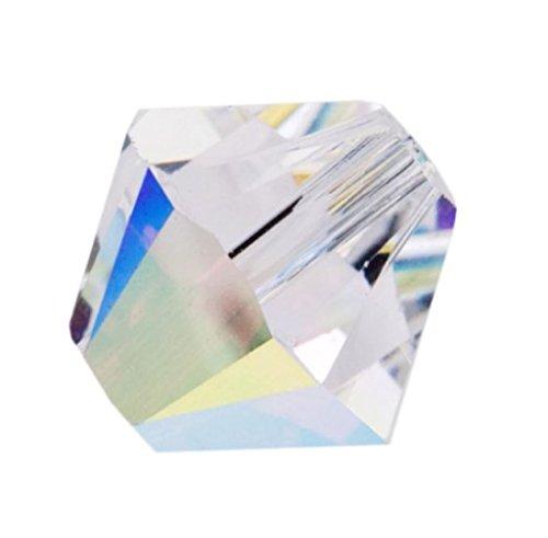 100pcs x Genuine Preciosa Bicone Crystal Beads 4mm Crystal AB Alternatives For Swarovski #5301/5328 #preb402 - Clear Bicone