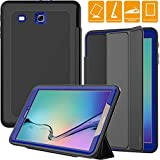 SEYMAC Galaxy Tab E 9.6 Case, Three Layer [Drop Protection] Rugged Heavy Duty Case with Trifold Cover Compatible with Samsung Galaxy Tab E 9.6 inch (SM-T560/T561) (Black/Blue)