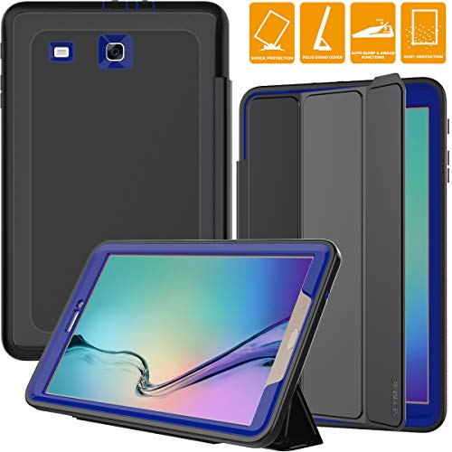 "SEYMAC Samsung Galaxy Tab E 9.6 Case, Three Layer [Drop Protection] Rugged Heavy Duty Case with Auto Sleep/Wake [Magnetic Cover] Compatible with Samsung Galaxy Tab E 9.6"" (SM-T560/T561) (Black/Blue)"