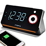 iTOMA Alarm Clock Radio with Dual USB Charging Port,Earphone Jack & Aux in