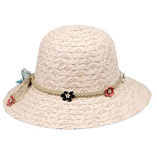 Shmei Summer Women Sun Protective Straw Hat Foldable Wide Brim Floppy Cap Beach Sun Hat (Pink)