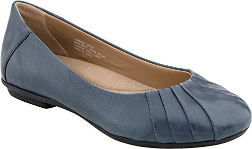 (Earth Women's Bellwether Ballet Flat,Admiral Blue Calf Leather,8.5 W US )