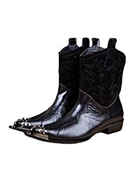 US Size 5-12 New Black Leather Metal Pointed Steel Toe Slip On Cowboy Boots Mens Shoes