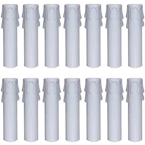 Nexxxi 24 Packs White Plastic Candle Covers Sleeves for Most Chandeliers(4