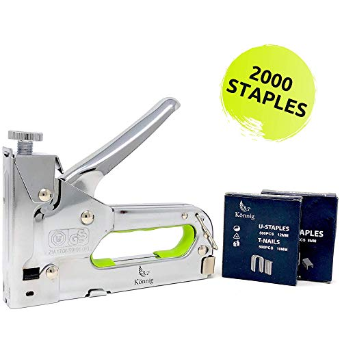 - Könnig Heavy Duty Staple Gun 3 in 1 w/BONUS 2000 Staples, Hand Operated Stainless Steel Stapler, Brad Nailer, Tacker Tool