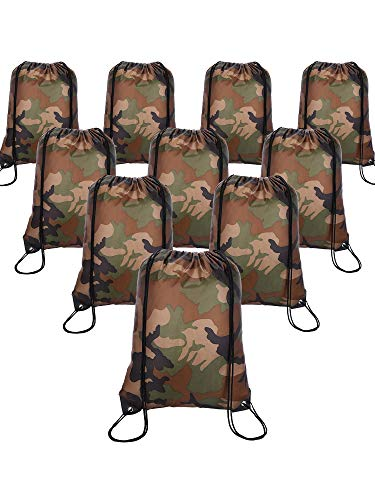 Shappy 10 Pieces Drawstring Bag Sack Pack Cinch Tote Kids Adults Storage Bag for Gym Traveling (Camouflage)
