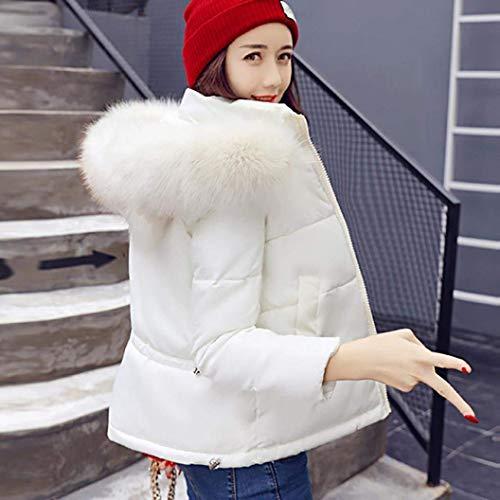 Sólido Chaqueta Manga Invierno Estilo Caliente Plumas Abrigos con Jacket Mujer con Larga Laterales Cremallera Bolsillos Capucha Color Blanco Especial Corto Outdoor BqtPYx