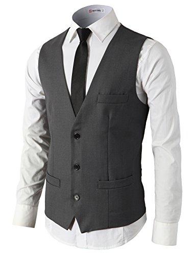H2H Mens Formal Slim Fit Premium Business Dress Suit Lightweight Vests Charcoal US XL/Asia XXL (CMOV032)