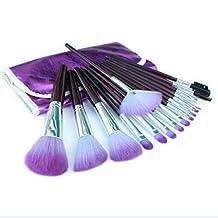 16pcs/set Make up Brushes Kit Eyelash Eyeshadow Foundation Powder Lip Brushes in Purple Case