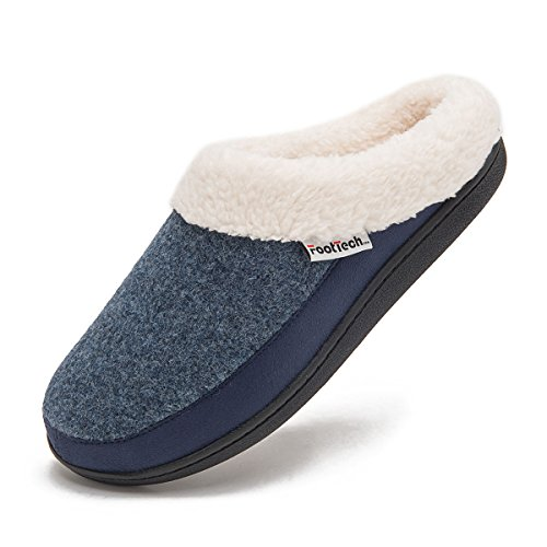 FootTech Ladies House Slippers Memory Foam No Slip Washable Winter Home Slippers Shoes Arch Support Indoor Outdoor Light Blue/Navy Size 11/12