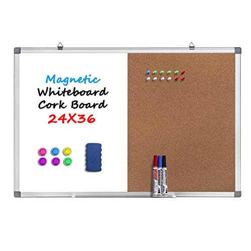 - 36 x 24 Magnetic Whiteboard and Cork Board Combination Board, Dry Erase Board Bulletin Combo Board for Home Office, Wall Mounted Memo Message Board with Dry Erase Markers, Eraser, Magnets, Push Pin