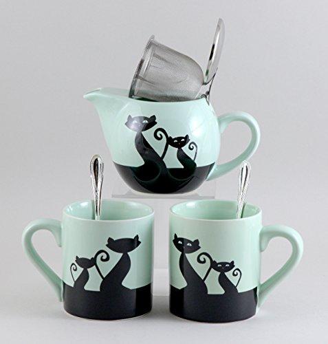Green Cat Kattitude Tea Set