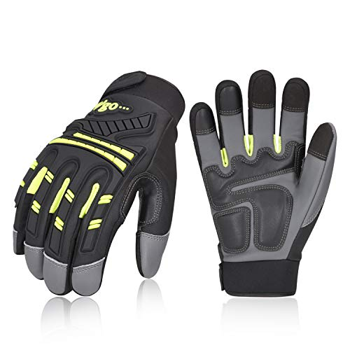 Vgo 3Pairs High Dexterity Water Repellent Goat Leather Heavy Duty Mechanic Glove,Rigger Glove,Anti-vibration,Anti-abrasion,Touchscreen (Size M,Green,GA8954) ()