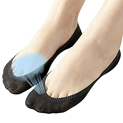 4 Pairs No Show Liner Socks Women's Low Cut Cotton Nylon Boat Invisible Hidden Socks Non-Slip for Flats at Women's Clothing store