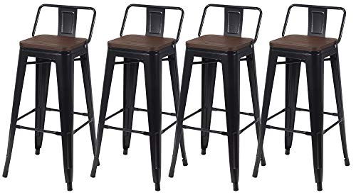"Kmax Industrial Metal Bar Stools Set - Height Bar Stools Chairs with Wood Seat & Backs Indoor Outdoor, 30"", Set of 4, Black"