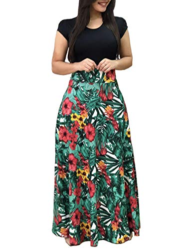 Aublary Women's Boho Summer Empire Waist Long Flowy Beach Maxi Party Cocktail Dress, Leaf M