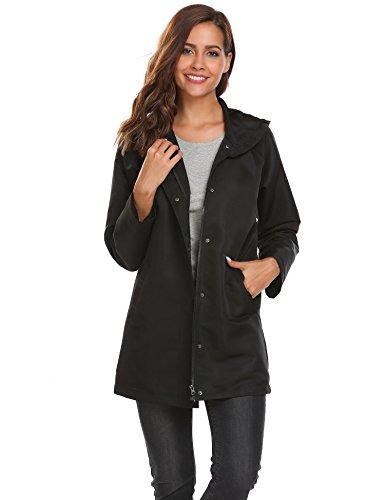 impermeable con Negro de manga chubasquero Coorun capucha larga Chaqueta lluvia Mujer de Pv07vA