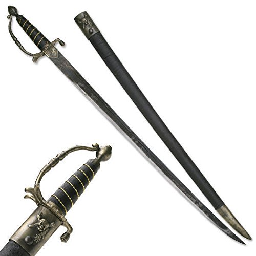 38'' Jolly Roger Pirate Naval Cutlass Sword with Carbon Sharp Blade Durable Antique Bronze with Scabbard