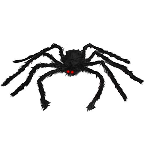 OWUDE 50 Inch Giant Spider, Halloween Hairy Spider Scary Fake Large Spider for Outdoor Decor Yard Decorations Scary Plush Spider Props (50 Inch Black - 50 Posable Inch Spider