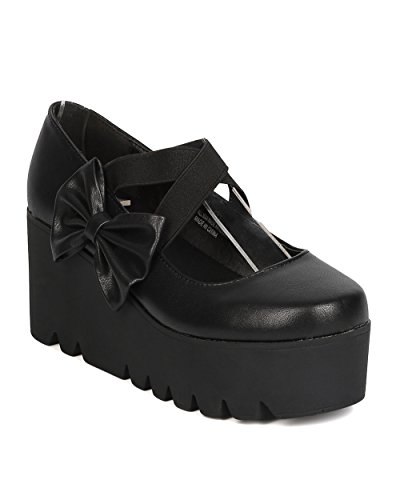 [Women Leatherette Bow Tie Mary Jane Platform Creeper Shoe - Cosplay, Costume, Uniform, Party - Elastic Platform Wedge - By Alrisco - Black (Size:] (Halloween Costumes Platform Shoes)